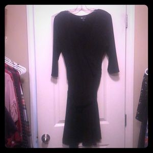 Faux-Wrap Dress, Classic Black, knee length